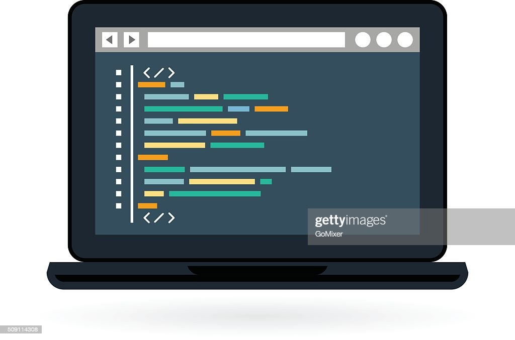 Programming and coding icon - laptop