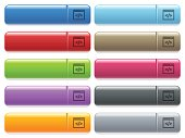 Programming code icons on color glossy, rectangular menu button