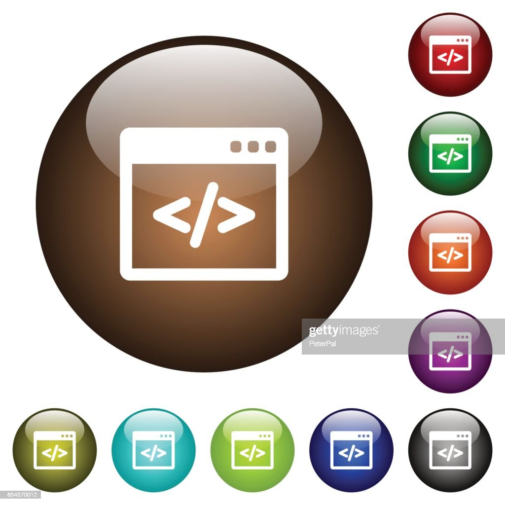 Programming code in software window color glass buttons
