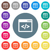 Programming code in software window flat white icons on round color backgrounds