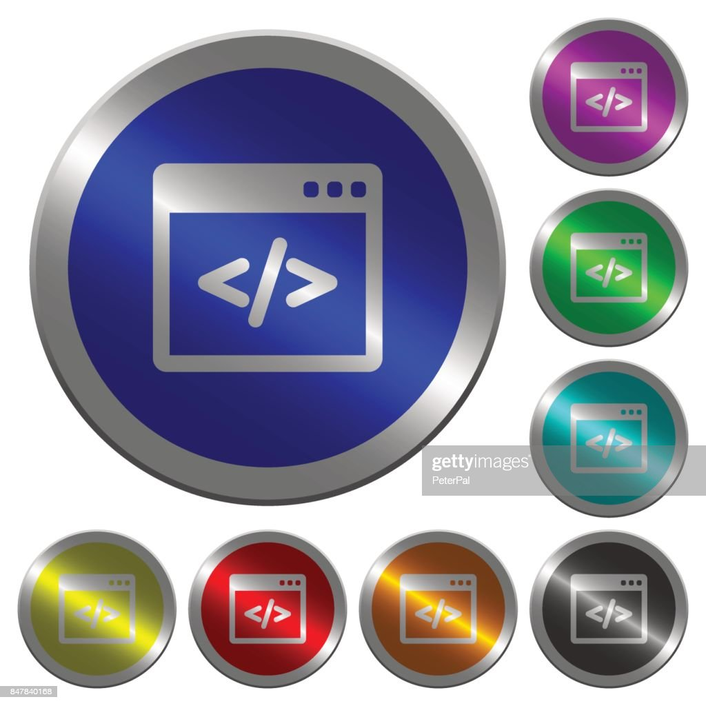 Programming code in software window luminous coin-like round color buttons