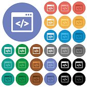 Programming code in software window round flat multi colored icons