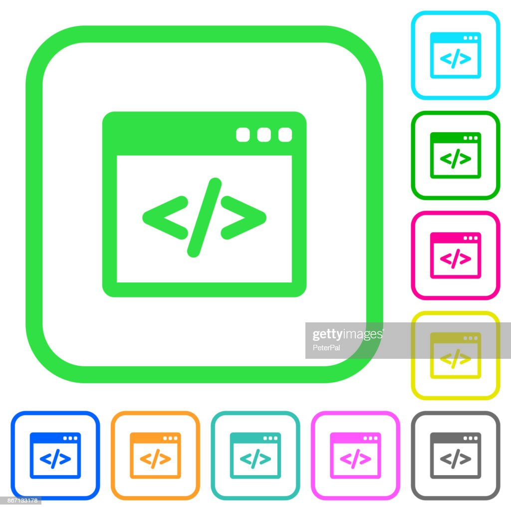Programming code in software window vivid colored flat icons icons