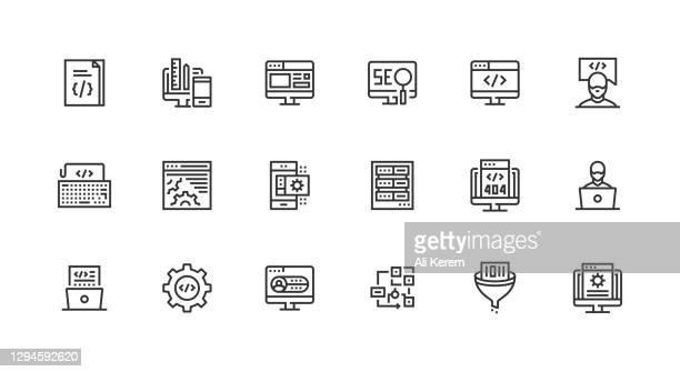 programmierung, code, programmierer, entwicklung, filtern von datensymbol-design - responsives webdesign stock-grafiken, -clipart, -cartoons und -symbole