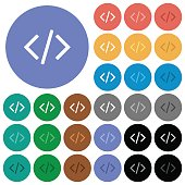 Programming code round flat multi colored icons