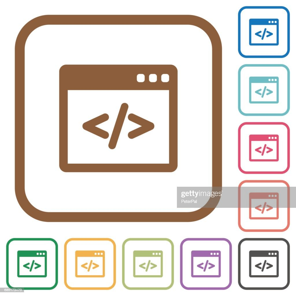 Programming code simple icons