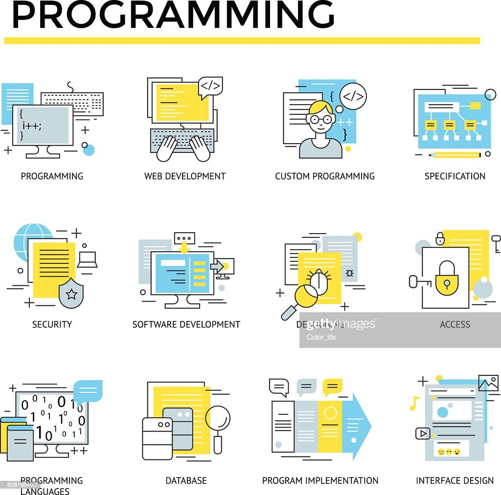 Programming concept icons.