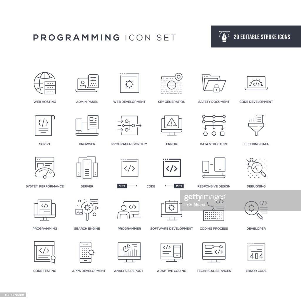 Programmazione icone della linea di tratto modificabile : Illustrazione stock