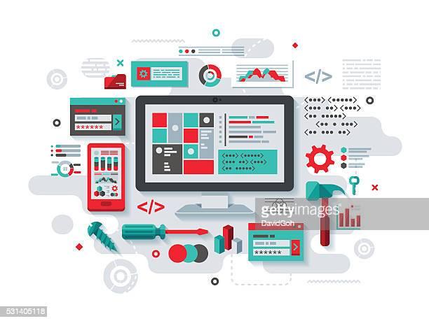 flacher design-konzept-programmierung - werkzeug stock-grafiken, -clipart, -cartoons und -symbole