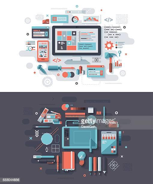 ilustraciones, imágenes clip art, dibujos animados e iconos de stock de programación & concepto de diseño gráfico - tableta gráfica
