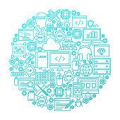 Programming Line Icon Circle Design