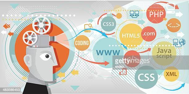 programming projection - html stock illustrations, clip art, cartoons, & icons