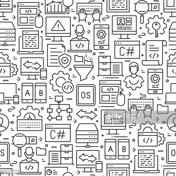 programmierung von nahtlosen mustern und hintergründen mit liniensymbolen - programmierer stock-grafiken, -clipart, -cartoons und -symbole