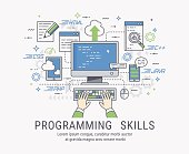 Programming skills vector illustration for web