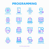 Programming thin line icons set: developer, code, algorithm, technical support, program setup, porting, compilation, app testing, virus, optimization. Modern vector illustration.