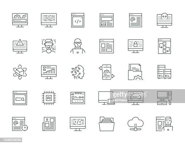 programmierung thin line series icon set - responsives webdesign stock-grafiken, -clipart, -cartoons und -symbole