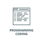 Programming,coding vector line icon, linear concept, outline sign, symbol