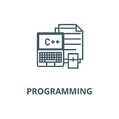 Programming,coding,notebook,  vector line icon, linear concept, outline sign, symbol