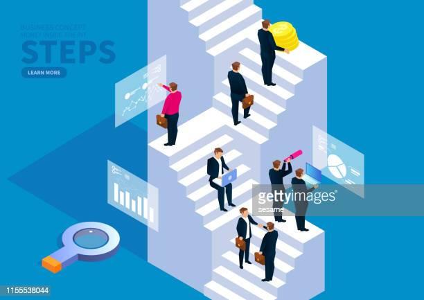 illustrazioni stock, clip art, cartoni animati e icone di tendenza di progress, a group of business people on the stairs - gradino