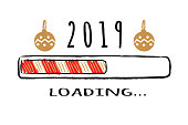 Progress bar with inscription 2019 loading and christmas bulbs in sketchy style.