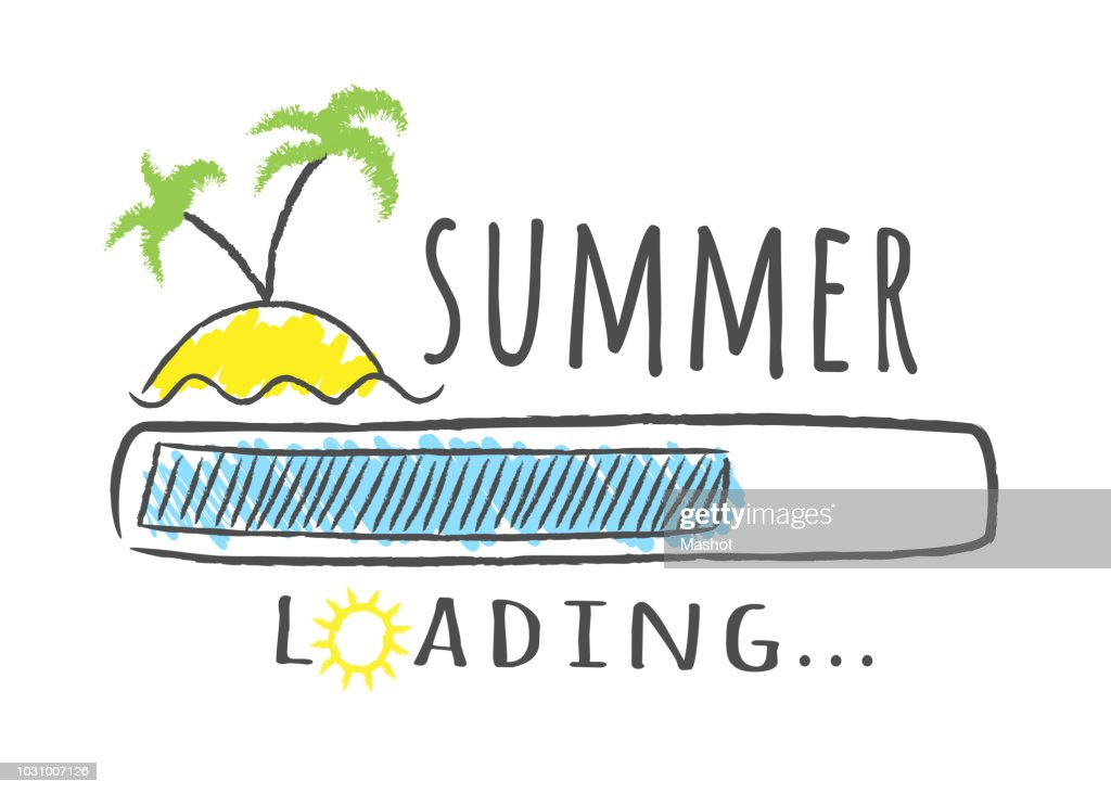 Progress bar with inscription - Summer loading and palms on the beach in sketchy style.
