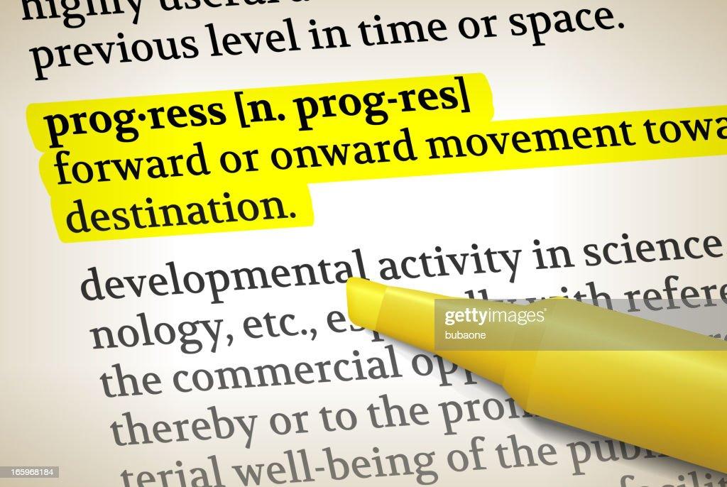 Progress dictionary definition royalty free vector illustration