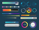 Progress loading bar indicators download progress ui-ux web interface design template file upload vector illustration