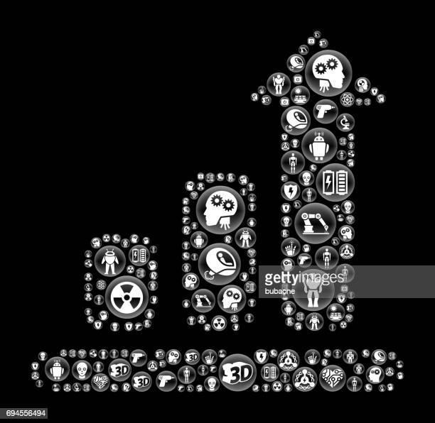 progresschart ロボットとロボット黒ベクトル ボタン パターン - ロボット手術点のイラスト素材/クリップアート素材/マンガ素材/アイコン素材