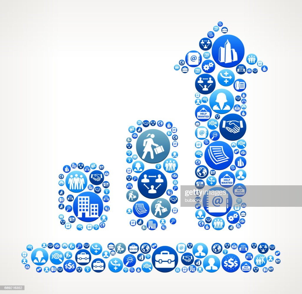 Progresschart Work and Employment Blue Vector Button Pattern : Stock Illustration