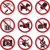 Prohibited No Signs. Vector set