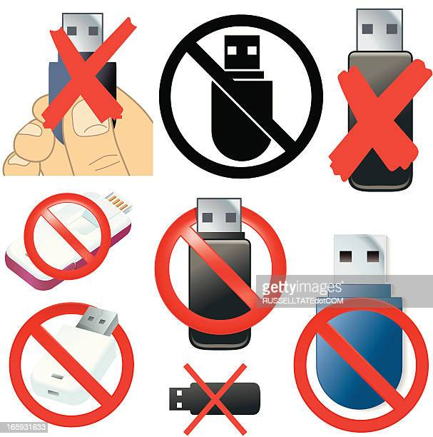 prohibited removable media icons - usb stick stock illustrations, clip art, cartoons, & icons