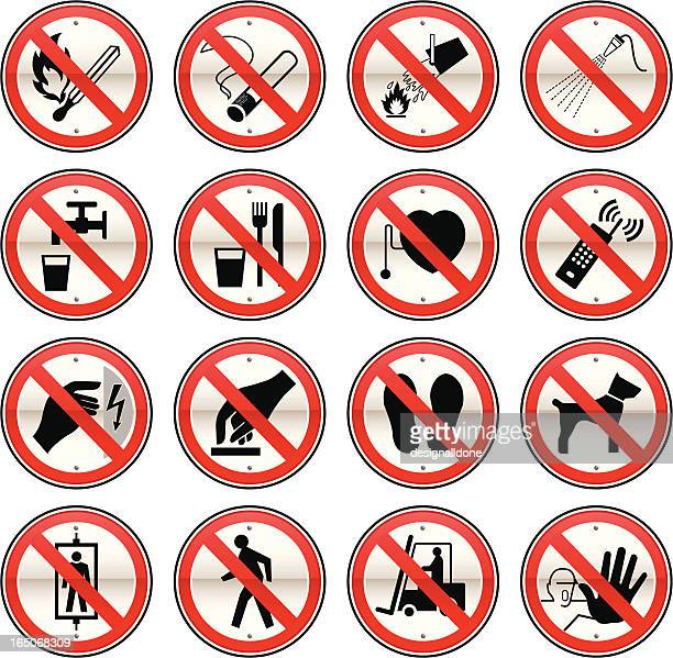 prohibited signs - warnsymbol stock illustrations