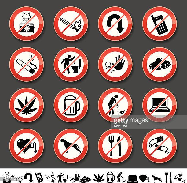 prohibited signs - forbidden stock illustrations