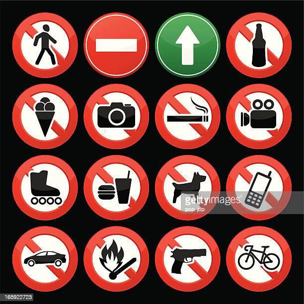 illustrations, cliparts, dessins animés et icônes de interdit les panneaux - panneau sens interdit