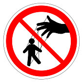 Prohibiting round road sign. Manager. Puppet show. Puppeteer puppet. control ban. Hand controls the puppet threads. vector