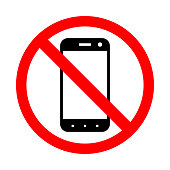 Prohibiting the use of a mobile phone.