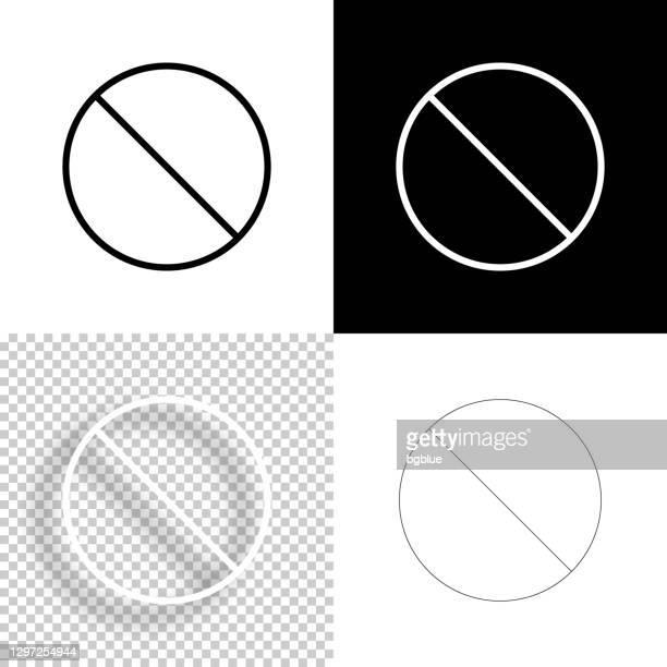 禁止。デザイン用アイコン。空白、白、黒の背景 - ラインアイコン - 待避所標識点のイラスト素材/クリップアート素材/マンガ素材/アイコン素材