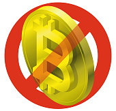 Prohibition of bitcoin coin, symbol. Cryptocurrency strict ban sign. Caution of virtual digital currency, internet investing.
