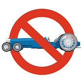 Prohibition of overly long car. Strict ban on construction of limousine, forbid. Stop long vehicles.