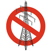 Prohibition of power lines. Strict ban on construction of electric pylons. Stop electricity caution.