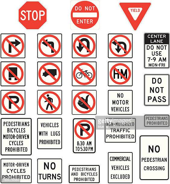 prohibition road signs in vector format - crossing sign stock illustrations, clip art, cartoons, & icons