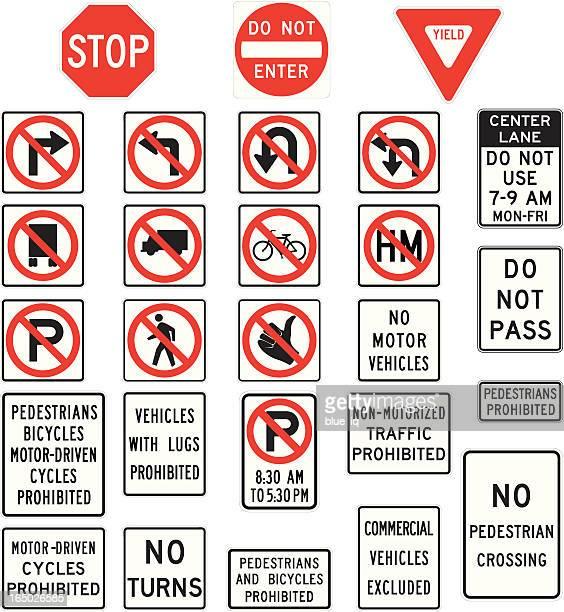 ilustrações, clipart, desenhos animados e ícones de proibição as placas em formato vetorial - turning
