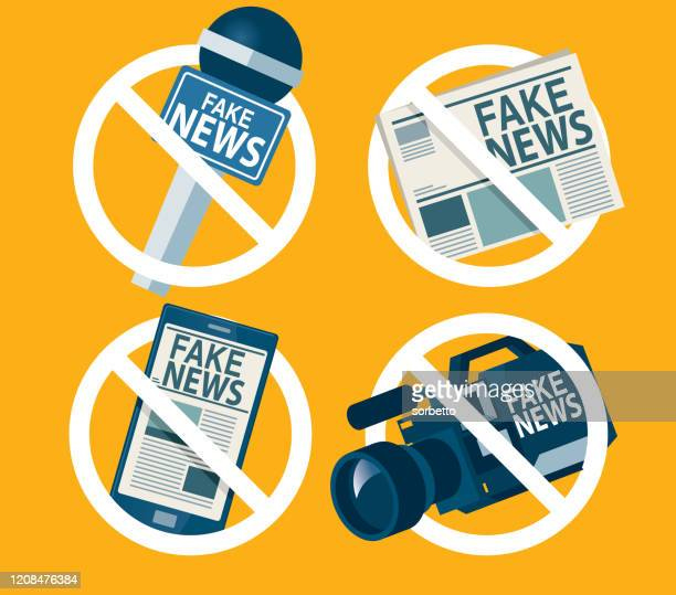 ilustraciones, imágenes clip art, dibujos animados e iconos de stock de señal de prohibición de noticias falsas - fake news