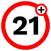 UNDER TWENTY ONE prohibition sign in red circle. Vector icon