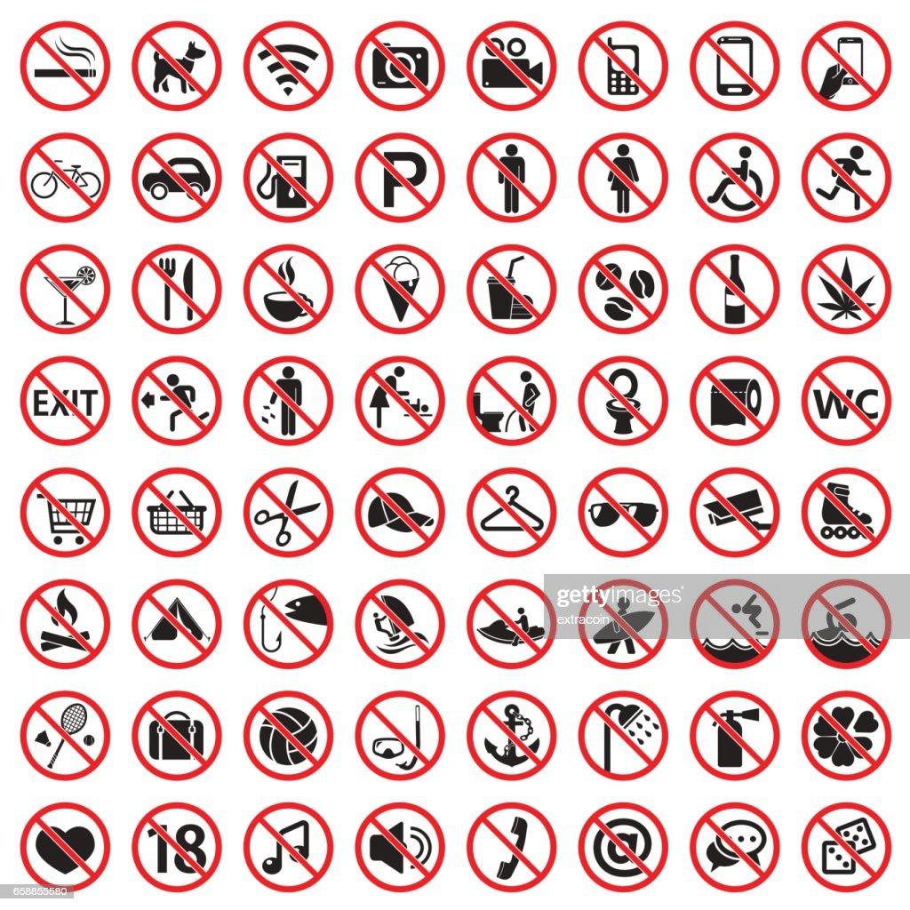 Prohibition signs icon set