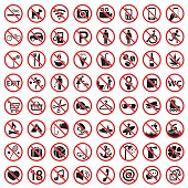 Prohibition signs icon set