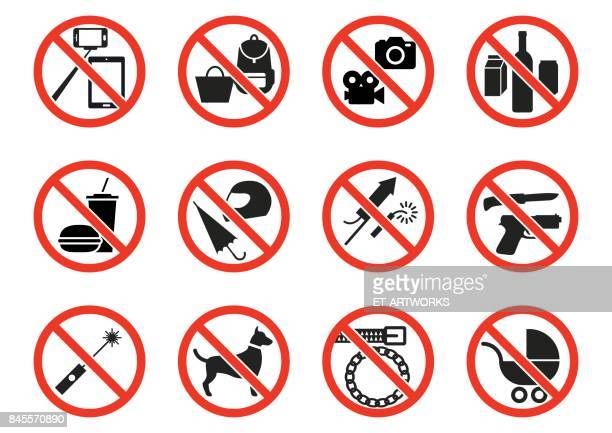 prohibition signs - forbidden stock illustrations