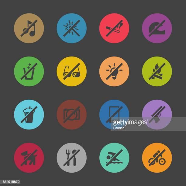 ilustrações de stock, clip art, desenhos animados e ícones de prohibitions icons set 1 - color circle series - proibido celular