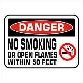 NO SMOKING prohobition forbidden sign vector illustration. Warning, danger, no smoking or open flames within 50 feet