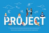 Project concept illustration of business people working together as team